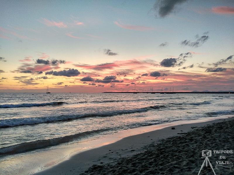 Puesta de sol de la playa de Es Trenc