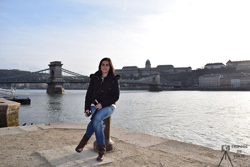Vistas del puente de las Cadenas desde el río Danubio.