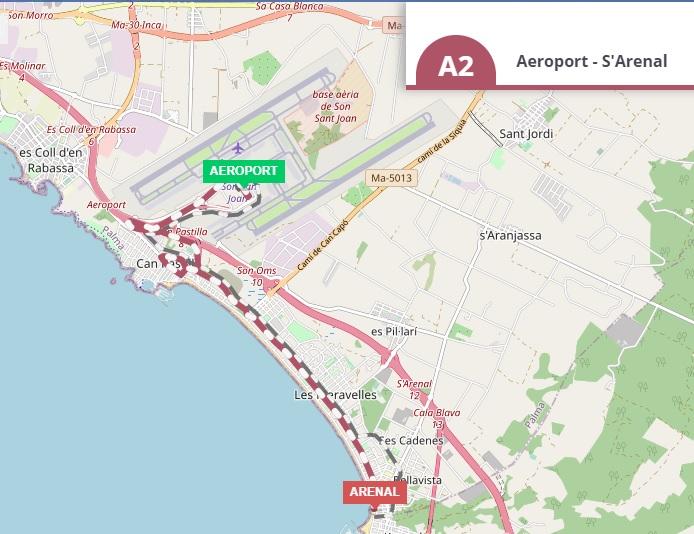 Línea A2 del aeropuerto a El Arenal