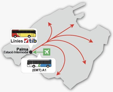 Cómo llegar del aeropuerto a Palma de Mallorca, línea A1.