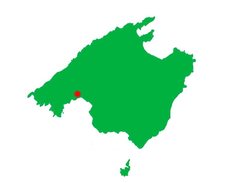 Mapa de la isla de Mallorca.