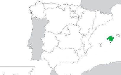 Mapa de España con la isla de Mallorca