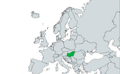 Mapa de Hungría dentro de Europa